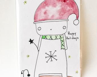 Original Watercolor Illustration Holiday Greeting Card, Christmas Illustration, Kawaii Christmas, Gift Card, Christmas Card
