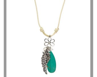 Turquoise & White Leather Wing Pendant Necklace