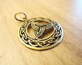 Bronze triquetra pendant, brass trinity knot, triquetra necklace, triglav pendant, celtic necklace, christian jewelry, neopagan bijoux
