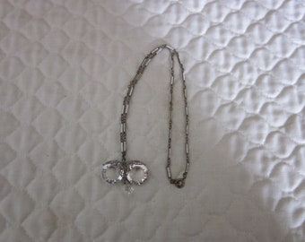Antique 1930's Crystal Filigree Enamel Necklace