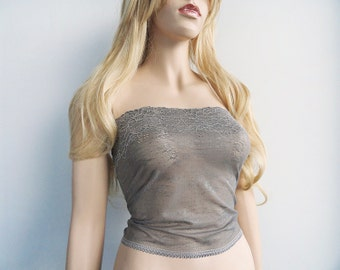 Gray Lace Tube Top Floral Wide Lace Strapless Top Lace Bandeau Top Bridal Wedding Party Lace Camisole See Through Lingerie B1166