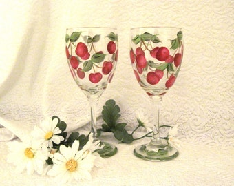 Cherries hand painted on set of two wine glasses free shipping