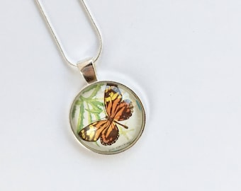 Monarch Butterfly Postage Stamp Glass Necklace