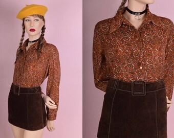 70s Orange Paisley Button Up Shirt/ XL/ 1970s/ Long Sleeve/ Knit