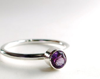 Amethyst ring, Sterling Silver,  minimal, stacking ring, February birthstone