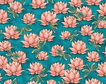 Quilting Treasures - Yuna (Calm) - Waterlilies & Dragonflies - Teal - Fabric by the Yard 24984-Q