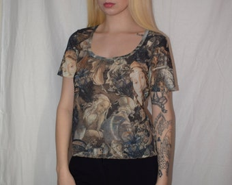 Vintage 90's Face Short Sleeve T-Shirt Top Size S