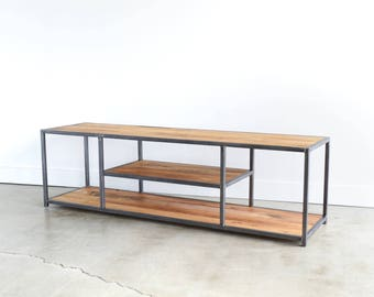 Industrial TV Stand | Metal and Reclaimed Wood Media Console | Open Sofa Console Table