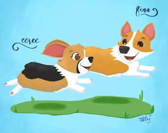 Custom 2 Pet Portrait with Names - Digital File Only