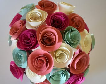 Coral, Mint, and Berry Paper Flower Bouquet, Mint and Coral Centerpiece