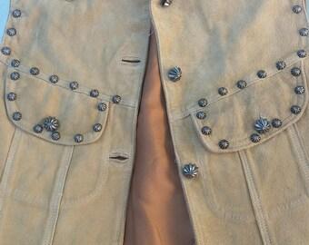 Vintage studded super soft suede vest size M