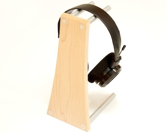 Headphone Stand, Headphone Holder. Modern Wood and Metal Headphone Hanger, Maple and Anodized Aluminum. Music Gift, Headphone Stand