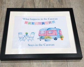 Caravan print custom gift framed or unframed