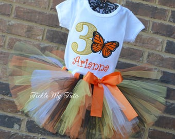 Monarch Butterfly Themed Birthday Tutu Outfit-Butterfly Birthday Tutu Set-First Birthday Monarch Butterfly Outfit