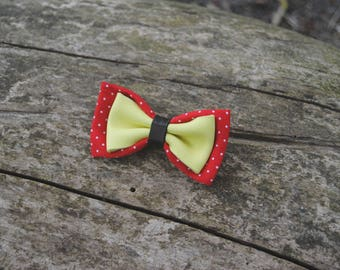 Yellow and red leather bow Barrette