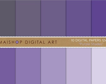 Solid Color Digital Paper 'Purple Shades' Scrapbook Papers for Crafts, Scrapbooking, Decoupage, Invitations...