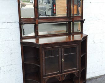1800s Victorian Tall Mahogany Two Part Etagere Hutch Curio Display Cabinet 8255