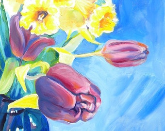 Tulips and Daffodils original oil still life flower portrait painting