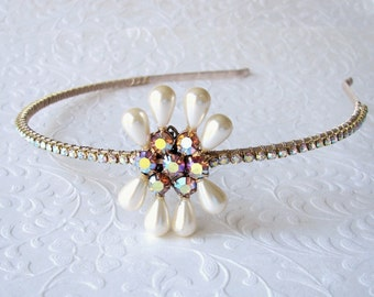 Aurora Borealis Rhinestone Pearl Headband Ivory Wedding Diadem Jeweled Hairpiece Vintage Hattie Carnegie Jewelry Bridal Headpiece Amber Gold