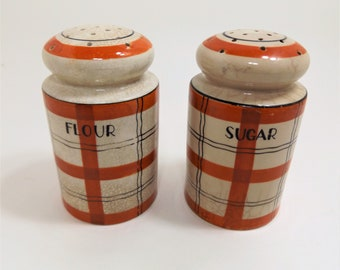 30's-40's Vintage Flour & Sugar Shakers by TT Takito Japan, Hand Painted Plaid Design
