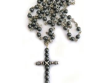 Hematite Cross Bead Necklace Unisex Men Women Psalm Jewelry