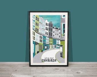 Edinburgh Art Print / Victoria Street Art Print / Edinburgh Digital Art / Scotland Print / Edinburgh Architecture / A4 print