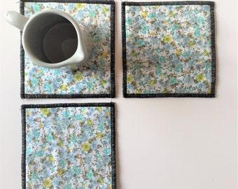 aqua floral and polka dot mug rugs - aqua blue trivets - set of 3x hostess gift - shabby home decor - blue aqua yellow floral coasters