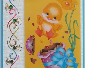 embroidered Easter chick card