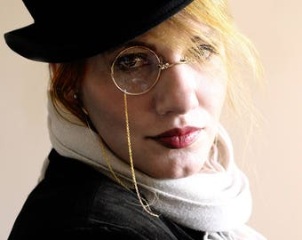 Gothic Monocle , Steampunk Monocle , Gold Monocle , Cosplay Monocle , Cosplay , Costume , Steampunk , Mens Eyewear , Gifts for Men , Wedding