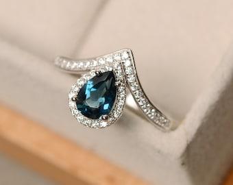 London blue topaz ring, pear cut topaz, sterling silver