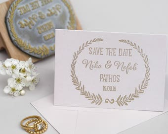 Grecian Wedding Save The Date Stamp