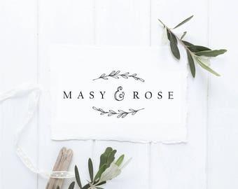 SALE - Rustic Logo - Leaf Logo Design - Minimalist Branding - Pre Made Logo - Flower Logo - Sketch Logo - Cute Logo