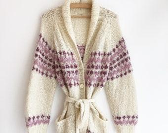 Vintage wool cardigan knit jumper bohemian hippie winter S/M