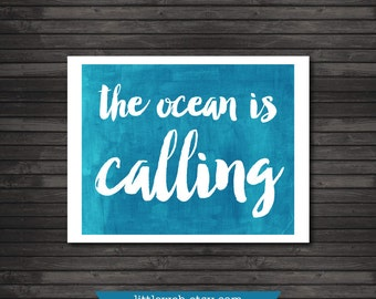 The Ocean is Calling Summer Printable, Watercolor Art Print, Beach Teal Art Instant Download