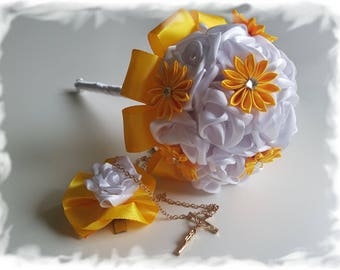 Handmade First Holy Communion Flower Bouquet with a Hair Clip and Cross Set