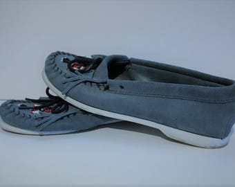 Minnetonka Blue Suede Leather Moccasins Vintage