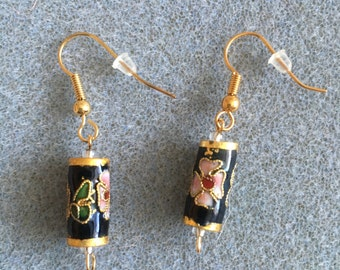 black barrel cloisonné earrings