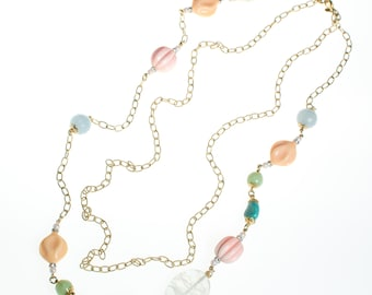 Vintage Yosca Long Gold Chain Necklace With Pastel Colored Bead, Peach, Pink, Blue, Mint Green