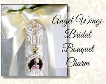 Angel Wings Rhinestone Memorial Wedding Photo Charm, Custom Bride's Bouquet Charm, Sparkly Bridal Bouquet Jewelry, Wedding Bling