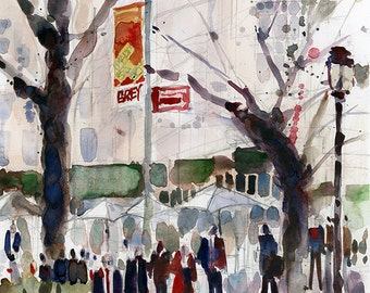 Madison Square Park, NYC - Art Print  from Original Watercolors - Page Size 8.5 x 11
