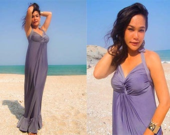 Gray Halter  Beach evening long maxi Sun Beach dress All size