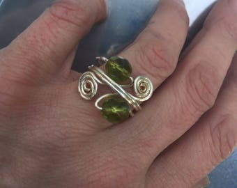 Silver wire wrapped green beaded adjustable ring