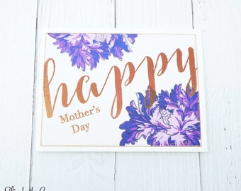 Mothers Day Card, Card For Mom, Happy Mothers Day, Bold Happy Mother's Day, Rose Gold, Handmade Greeting Cards, Altenew