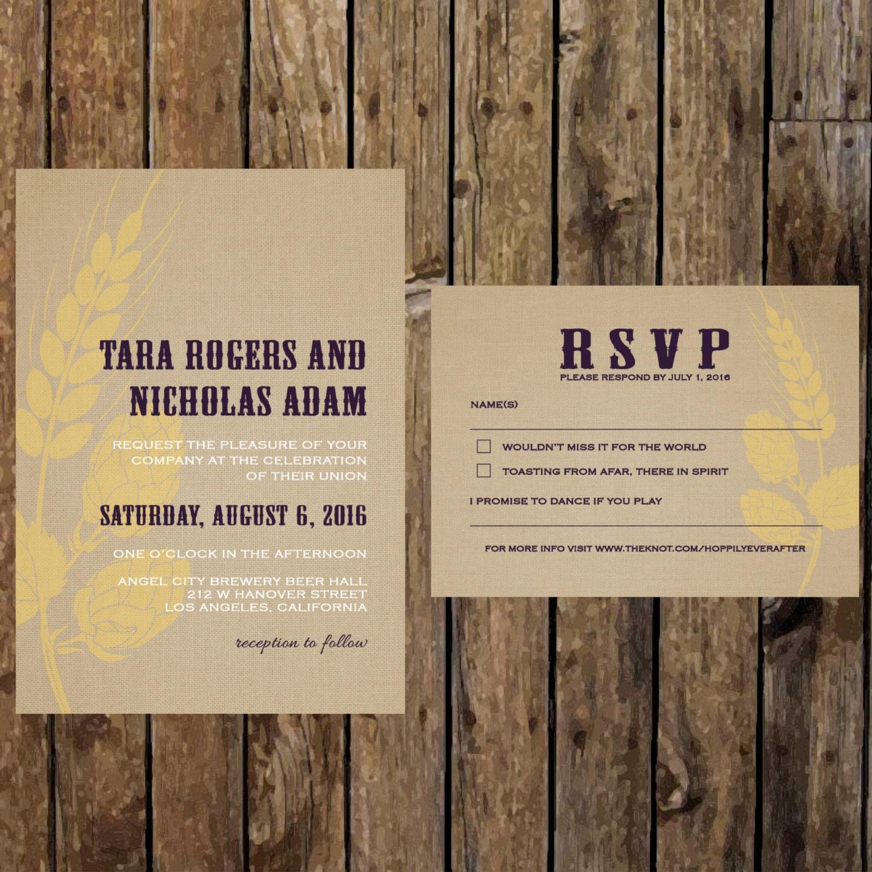 Very Printable DIY Brewery Wedding Invitation. Modern Beer Wedding GX46