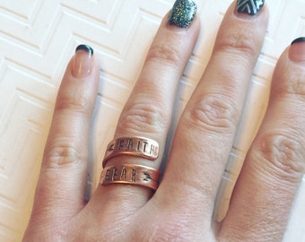 Faith Over Fear Ring - Silver Wrap Ring - Hand Stamped Ring - Gift For Her - Religious Ring - Skinny Block Font