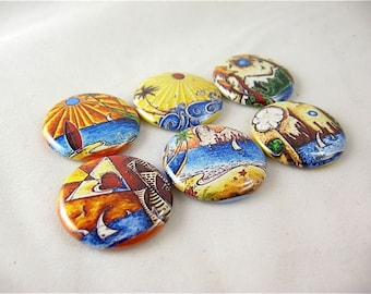 Fridge Magnets - Six 1 Inch button magnets - Magnabilities Compatible - Outside These Walls
