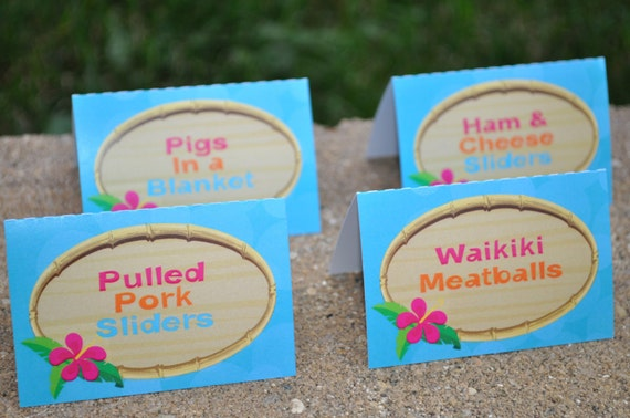 Tropical Themed Party Ideas Free Printables: Luau Food Label Cards Buffet Labels Hawaiian Luau Birthday