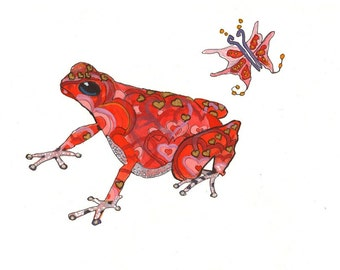 Red Frog- Art Print - limited edition print // Wall Art