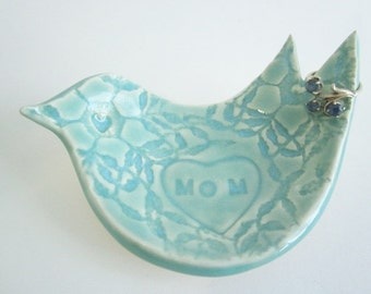 Mother of the bride or groom gift - unique wedding gift for mom - Mothers day gift, In Stock, - bird ring holder ceramic pottery