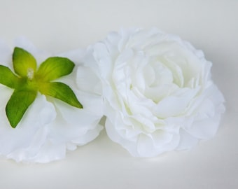 Silk Artificial Flower - White Ranunculus - 3.5 inches - ITEM 0288